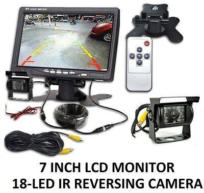 "CAR REAR VIEW KIT for Bus Truck 7"" LCD MONITOR + IR REVERSING CAMERA 18LED UK"