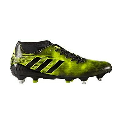 Adidas SS17 Adizero Malice SG Rugby Boots - Black/Yellow - UK 10.5