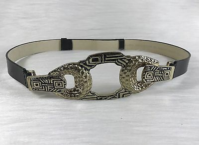Chicos Women's black Leather Adjustable Slide Belt size Small gold metal buckle