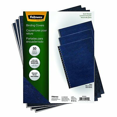 Fellowes Binding Grain Presentation Covers Letter Navy 50 Pack 8-1/2in x 11in