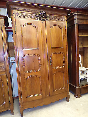 French Antique Louis XV Walnut Wedding Armoire circa 1890