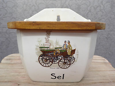 Antique French Daimler Decor Ceramic Salt Canister With Wooden Lid * Circa 1900
