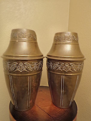 French Antique Pair Of Art Deco Brass Vases Circa 1920