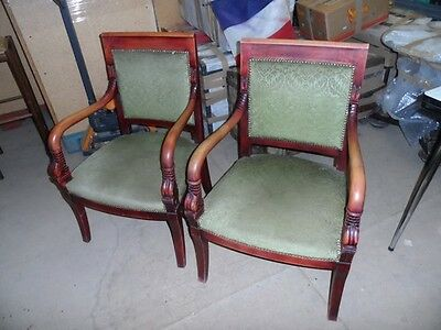 Pair Of French Antique Empire Green Velours Mahogany Armchairs Circa 1950