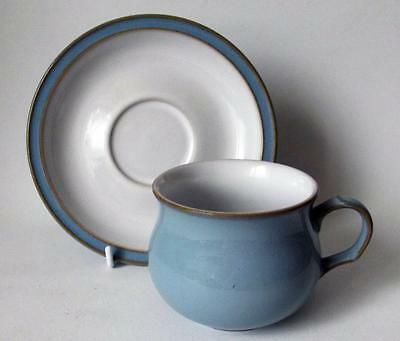 Denby Pottery Colonial Blue Pattern Cup and Saucer made in Stoneware