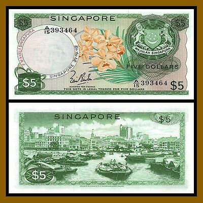 Singapore 5 Dollars, 1967 P-2a w/o Red Seal Sig Lim Kim San Orchid Boat Unc