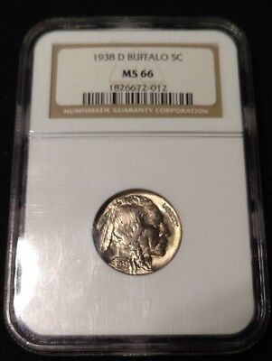 High Grade 1938-D Buffalo Nickel OLD NGC Holder MS-66