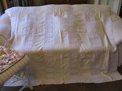 Antique Linen Panel Crochet Insert Bedspread Queen Full  79x73 Monogram MEB