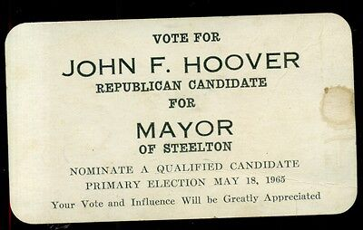 1965 John Hoover for Steelton,PA Mayor Campaign Card w/Fire Alarm Boxes