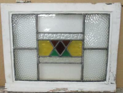 "OLD ENGLISH LEADED STAINED GLASS WINDOW Cute Geometric 21.5"" x 16.5"""