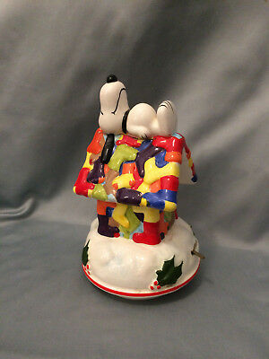 Schmid Music Box Snoopy Sleeping Doghouse Ceramic Christmas Japan 1981 Numbered