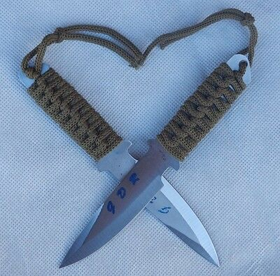 A Pair of New Sharp Edge Throwing Knives with Green Army Pocket Sheath (TK-Q2)