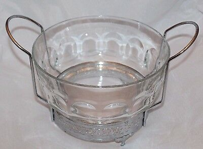 Vintage Arcoroc France Glass Casserole Dish with Silver Plated Stand