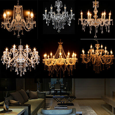 Clear Smoke Cognac Gray Fireworks 3 Ring Wave Waterfall Crystal Chandelier Light