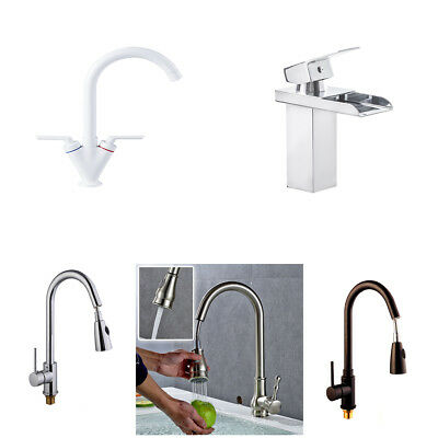 Kitchen Tap Sink Mixer Twin Lever Handle Faucet Chrome/Brushed/Black/White Taps