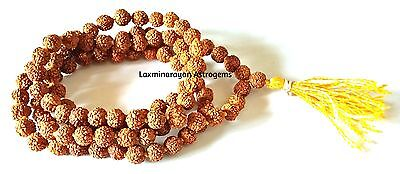 Rudraksha Mala 108 + 1 Beads 5 Mukhi Size 5.0 Mm For Yoga & Mediatation
