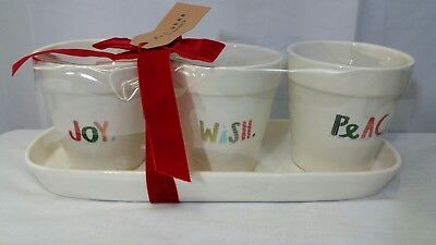Rae Dunn Joy Wish Peace Christmas Planter Set NEW Holiday Pots Decoration