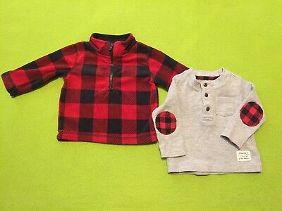 Baby Boy 3 Month Fleece Sweater & 3-6 Months Thermal/Flannel Long Sleeve Shirt