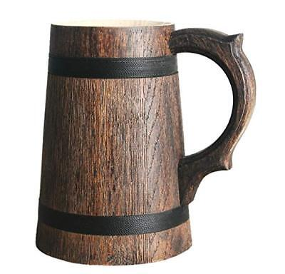 Beer Mug German Mugs Barrel Cup Wooden Natural Oak Wood Brown 23 OZ / 0.7 L Gift
