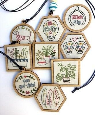 Embrodiery Kits - Mini Stitchery Collection - necklace and brooches