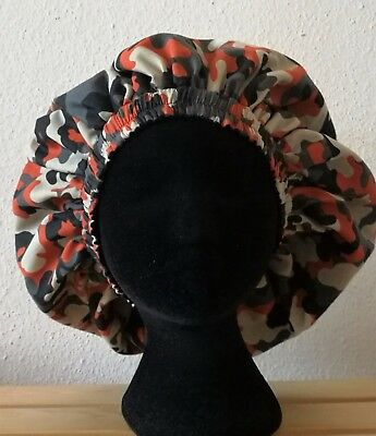 New Handmade Unisex Black, Orange and Cream Camouflage Sleep/Lounge Caps