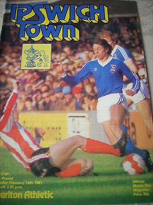 14.2.81 Ipswich Town v Charlton Athletic programme FA Cup