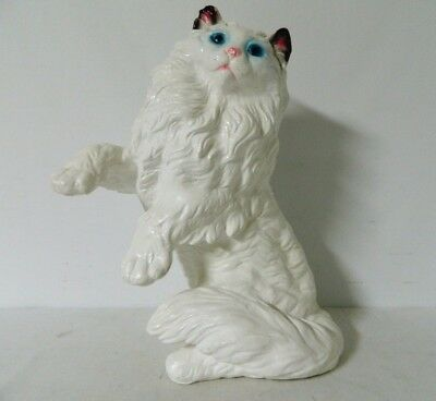 "17"" Vintage Standing Persian Cat Chalkware Plaster Statue Bank Painted Figurine"