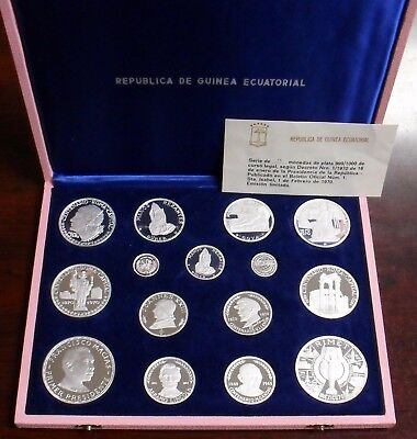 1970 Equatorial Guinea 15 Coin Proof Set All .999 Silver Scarce Complete Set