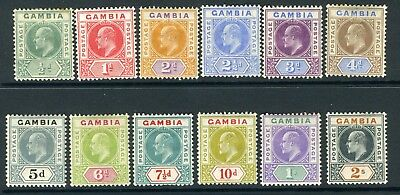 GAMBIA-1904-6  An average mounted mint set to 2/-, 5d thinned, 10d creased Sg 57