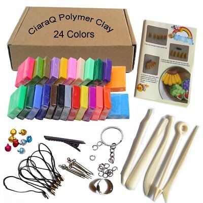 Clay 24 Colors Oven Bake DIY Colorful Safe and Nontoxic Soft Craft Polymer Set