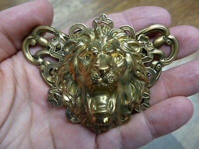 (B-LION-607) Lion big cat roaring love Lions big wild cat head brass pin pendant
