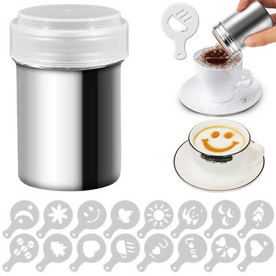 Stainless Steel Chocolate Shaker Powder Sprinkler Cappuccino Coffee Cocoa Sifter