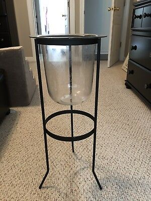 Partylite seville 3 Wick Candle Holder With Trellis And Glass Hurricane