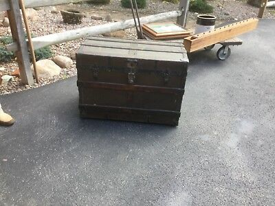 ANTIQUE SMALL TABLE COUNTRY PRIMITIVE AMERICANA WOOD STEAMER TRUNK CHEST flat