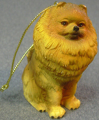 Sitting Pomeranian Dog Ceramic Resin Figurine Ornament