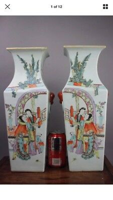 A pair of large chinese famille rose porcelain vase