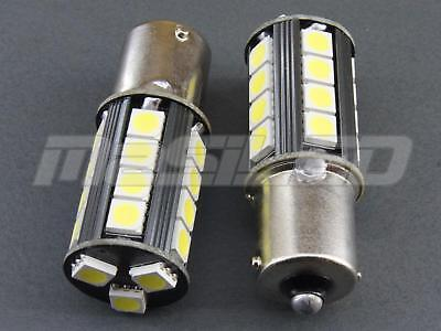 2 bombillas LED Canbus BA15S P21W 23 SMD 5050 color blanco puro 5000K