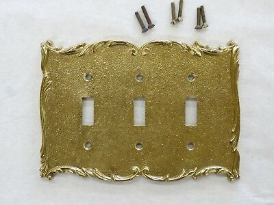 Vintage Solid  Brass Broadway Supply Co.Textured Polished Triple  Switch  Plate