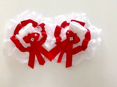 Handmade Extra frilly red diamanté baby/girls socks various sizes