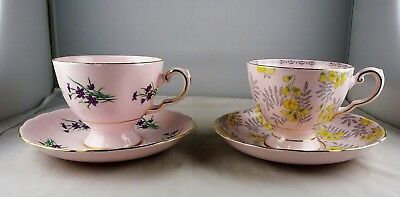 Pair of Tuscan Footed Cup & Saucer Sets Pink Floral Gold Trim English Bone China