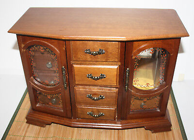 Vintage Large Wood Jewelry Box Double Doors Centurion Pull Out Hangers