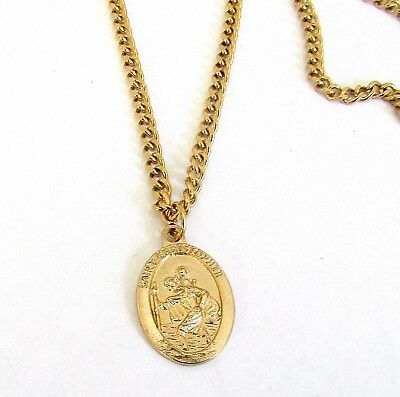 """St Christopher Medal Pendant Necklace 24"""" Chain ITALY Gold Plate"""