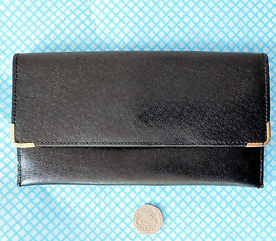 Black real leather wallet zipped coin purse compartment Carlo men or ladies long