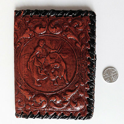 Vintage notebook cover holder ID wallet Spanish tooled leather Bull fight