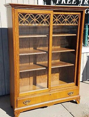 Antique Bookcase Quartered Oak Refinished 1890's Beautiful Sliding Doors 1 Draw