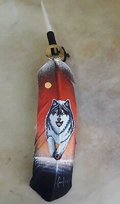 Hand painted feather , WOLF , ARTS & CRAFTS ,  SOUTHWEST ART , SUNRISE
