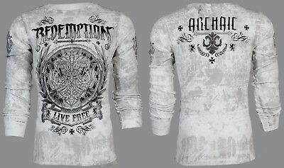 ARCHAIC by AFFLICTION Mens LONG SLEEVE THERMAL Shirt SHIELDED Biker UFC $58 NWT