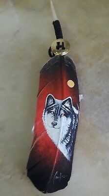 Hand painted feather , WOLF FACE  , ARTS & CRAFTS ,  SOUTHWEST ART , SUNRISE
