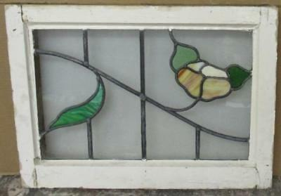 """MID SIZED OLD ENGLISH LEADED STAINED GLASS WINDOW Gorgeous Floral 24.25"""" x 17.5"""""""