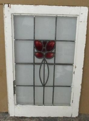 "MID SIZED OLD ENGLISH LEADED STAINED GLASS WINDOW Pretty Floral 18.25"" x 28.25"""